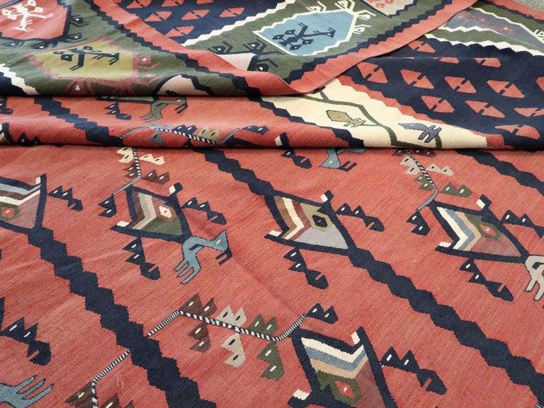 Mid-20th Century Handmade Turkish Large Oversize Sarkoy Flat-Weave Kilim For Sale 5