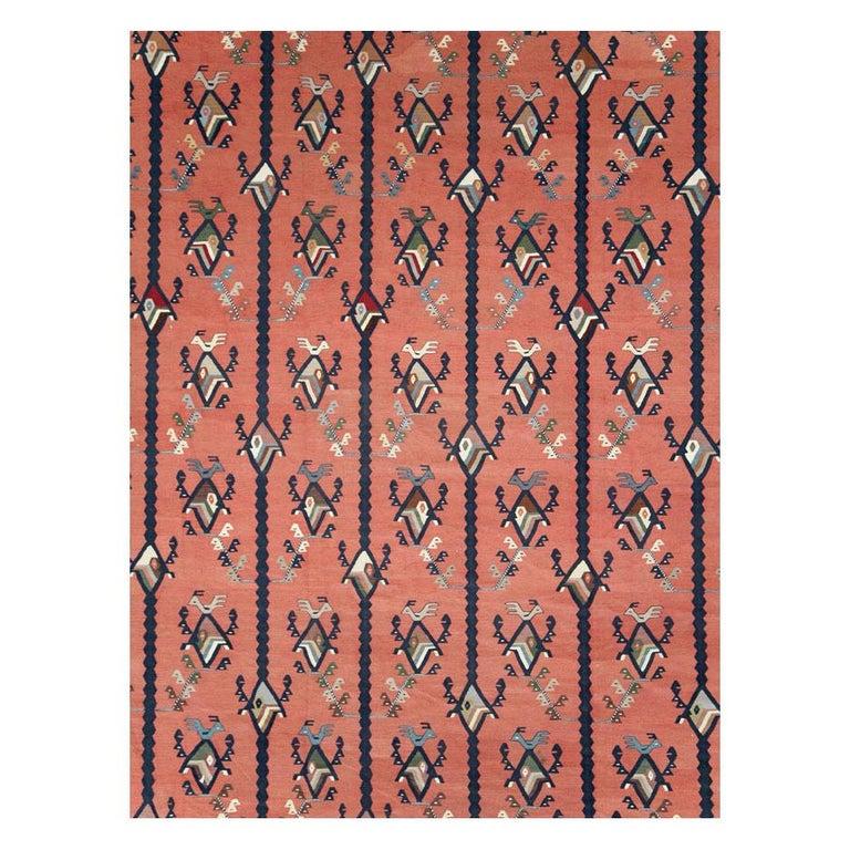 Hand-Woven Mid-20th Century Handmade Turkish Large Oversize Sarkoy Flat-Weave Kilim For Sale