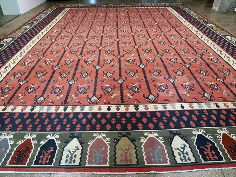 Wool Mid-20th Century Handmade Turkish Large Oversize Sarkoy Flat-Weave Kilim For Sale