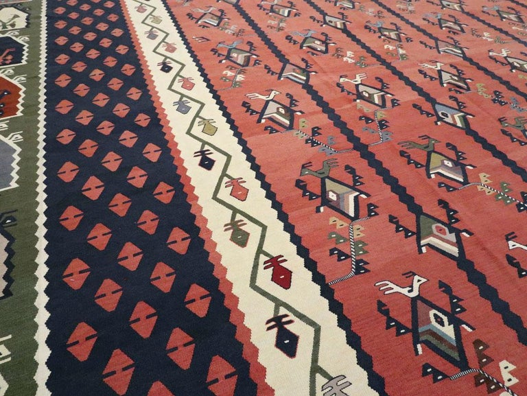 Mid-20th Century Handmade Turkish Large Oversize Sarkoy Flat-Weave Kilim For Sale 1