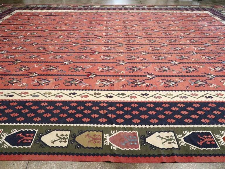 Mid-20th Century Handmade Turkish Large Oversize Sarkoy Flat-Weave Kilim For Sale 2