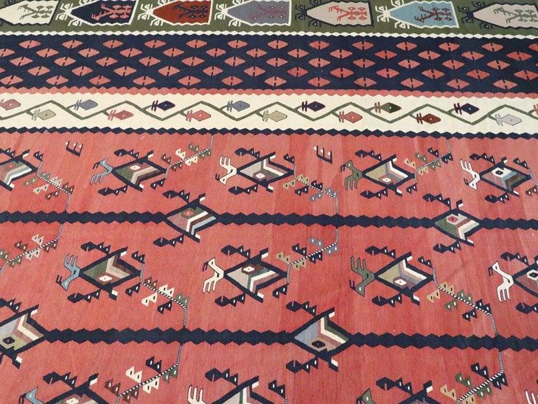 Mid-20th Century Handmade Turkish Large Oversize Sarkoy Flat-Weave Kilim For Sale 3