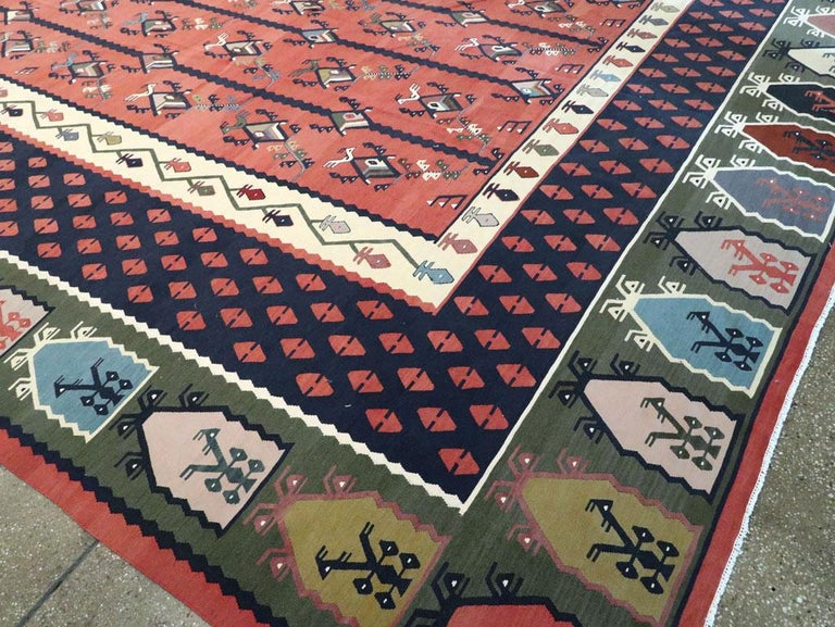 Mid-20th Century Handmade Turkish Large Oversize Sarkoy Flat-Weave Kilim For Sale 4