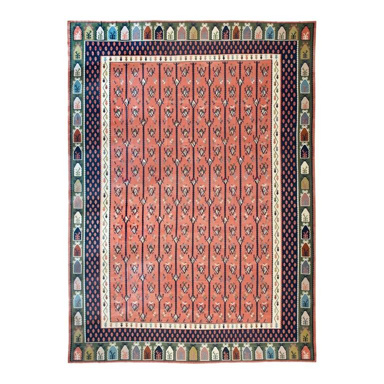 Mid-20th Century Handmade Turkish Large Oversize Sarkoy Flat-Weave Kilim For Sale