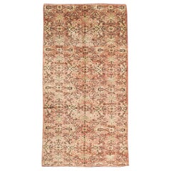 Mid-20th Century Handmade Turkish Anatolian Gallery Accent Rug in Blush Pink