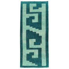 Mid-20th Century Handmade Turkish Anatolian Geometric Rug in Teal