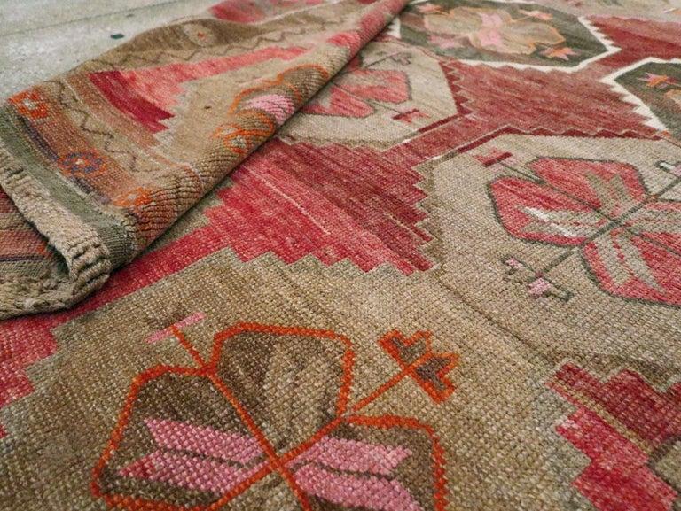 Mid-20th Century Handmade Turkish Anatolian Room Size Gallery Carpet For Sale 4