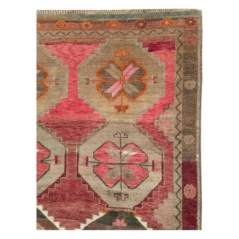 Rustic Mid-20th Century Handmade Turkish Anatolian Room Size Gallery Carpet For Sale