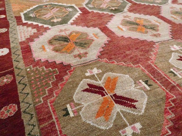 Wool Mid-20th Century Handmade Turkish Anatolian Room Size Gallery Carpet For Sale