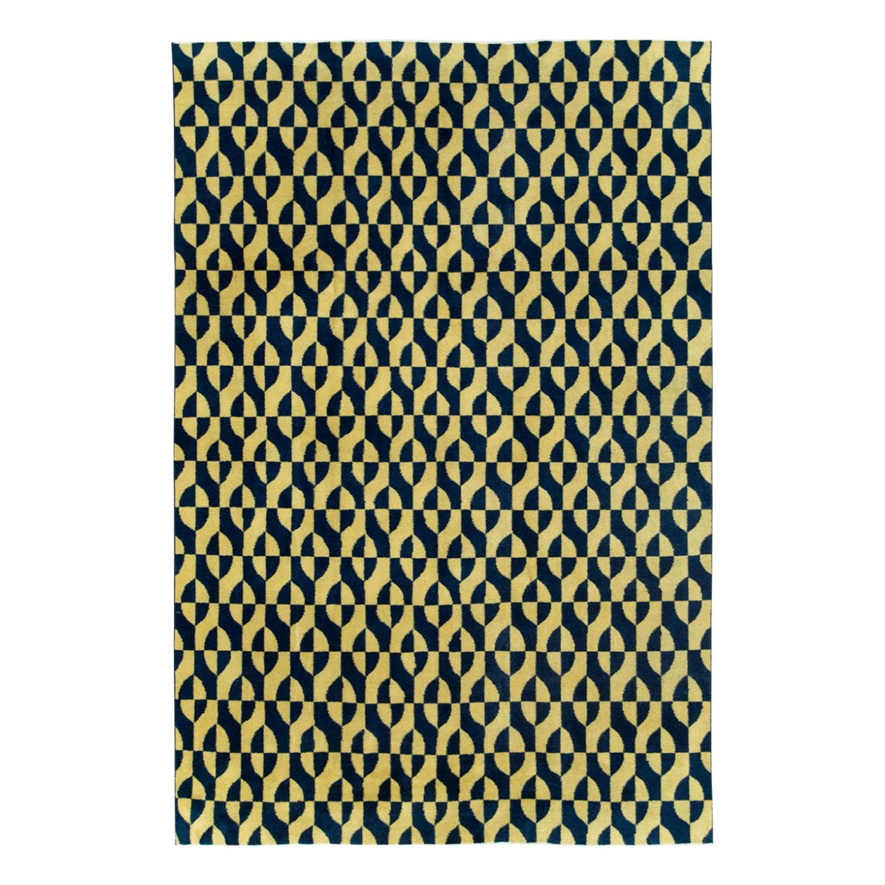 Mid-20th Century Handmade Turkish Art Deco Accent Rug in Yellow and Blue
