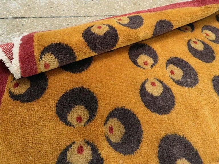 Mid-20th Century Handmade Turkish Art Deco Chintamani Runner Rug in Goldenrod For Sale 5