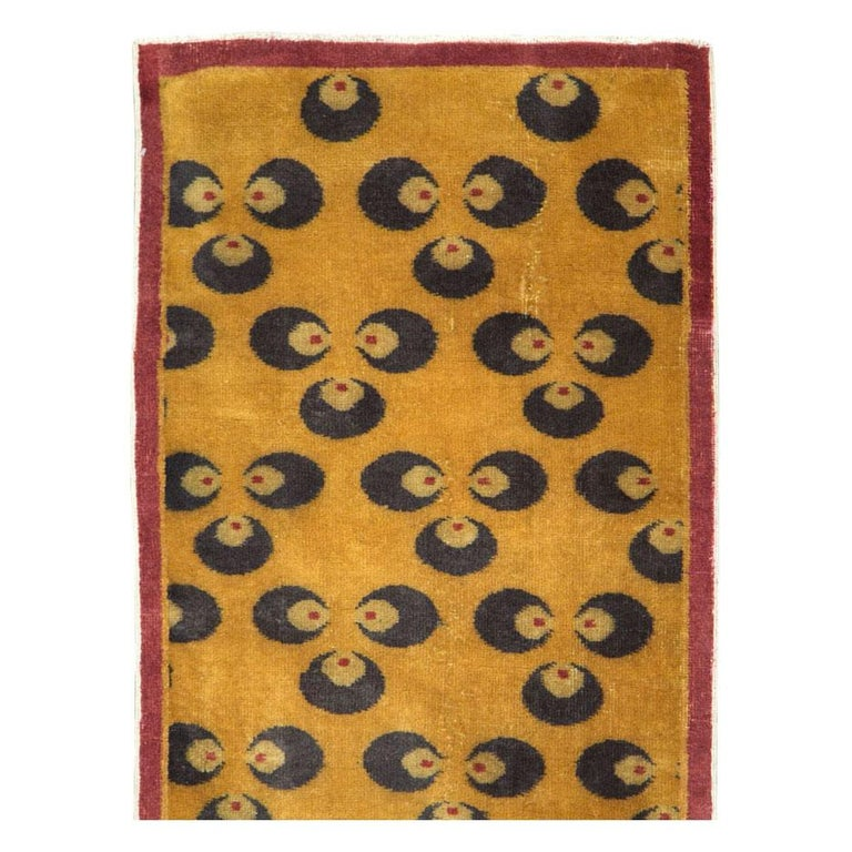 Hand-Knotted Mid-20th Century Handmade Turkish Art Deco Chintamani Runner Rug in Goldenrod For Sale