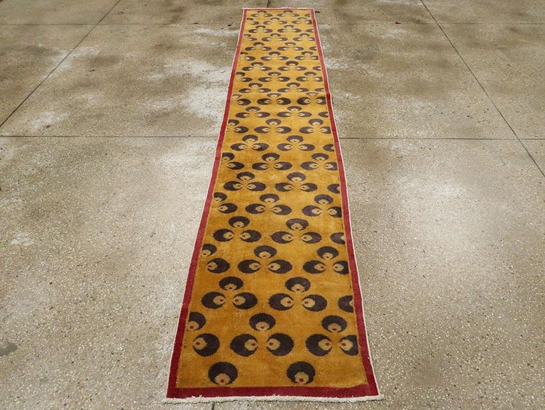 Mid-20th Century Handmade Turkish Art Deco Chintamani Runner Rug in Goldenrod In Good Condition For Sale In New York, NY