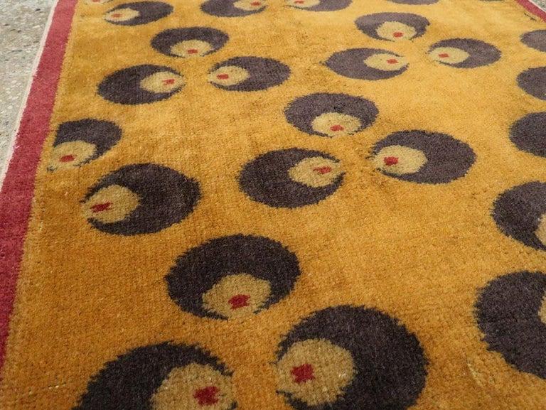 Wool Mid-20th Century Handmade Turkish Art Deco Chintamani Runner Rug in Goldenrod For Sale