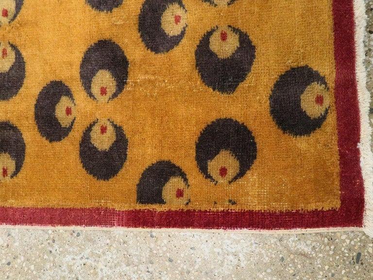 Mid-20th Century Handmade Turkish Art Deco Chintamani Runner Rug in Goldenrod For Sale 3
