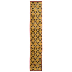 Mid-20th Century Handmade Turkish Art Deco Chintamani Runner Rug in Goldenrod