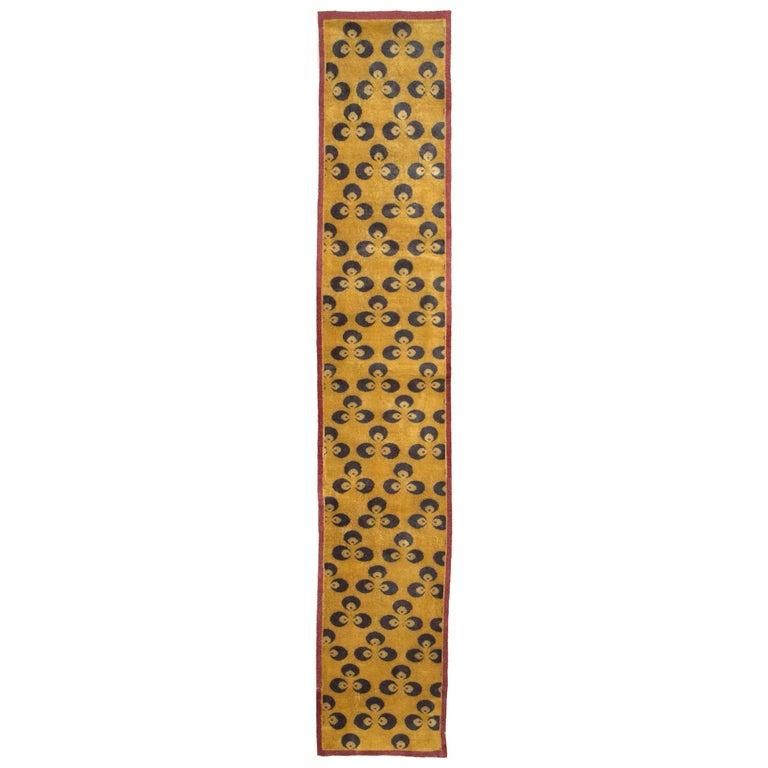 Mid-20th Century Handmade Turkish Art Deco Chintamani Runner Rug in Goldenrod For Sale