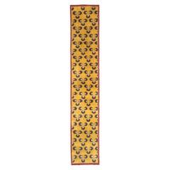 Mid-20th Century Handmade Turkish Art Deco Chintamani Runner Rug in Goldenrod