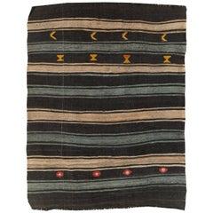 Mid-20th Century Handmade Turkish Flatweave Kilim Accent Rug