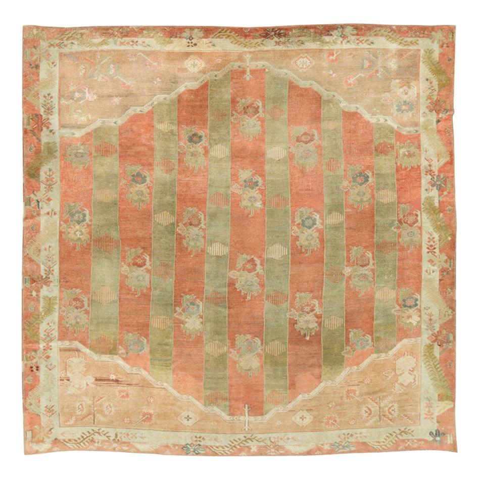 Mid-20th Century Handmade Turkish Oushak Square Room Size Carpet