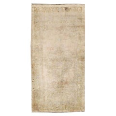 Mid-20th Century Handmade Turkish Oushak Throw Rug in Muted Neutral Tones