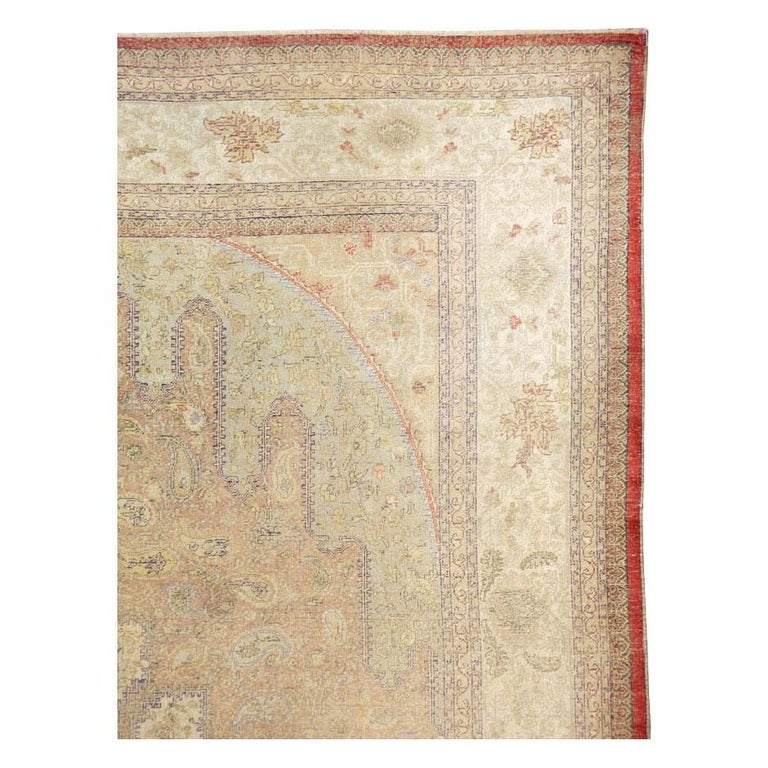 Hand-Knotted Mid-20th Century Handmade Turkish Sivas Accent Rug For Sale