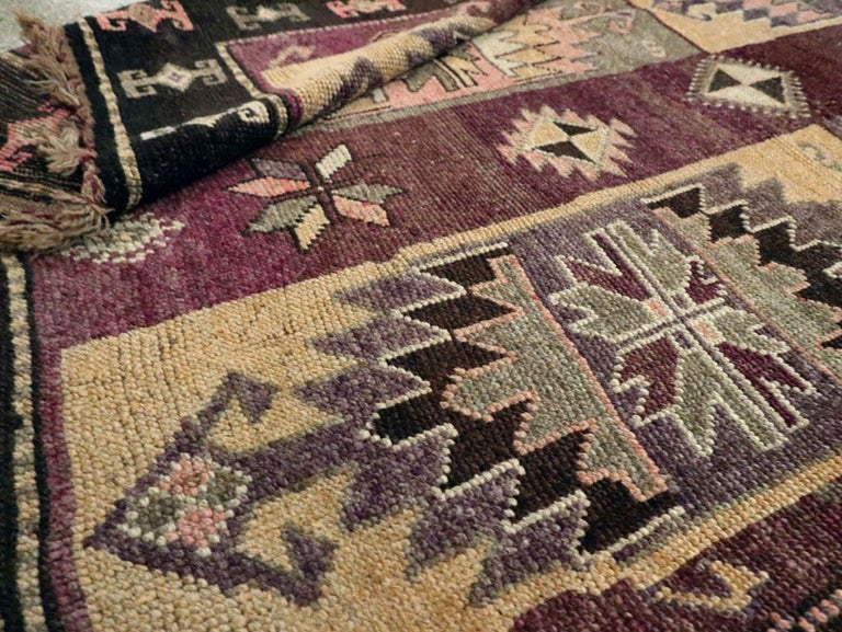 Mid-20th Century Handmade Turkish Tribal Long and Narrow Gallery Carpet For Sale 5
