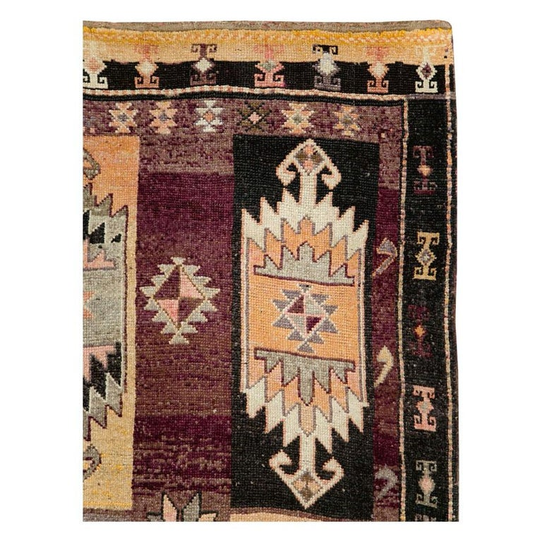 Hand-Knotted Mid-20th Century Handmade Turkish Tribal Long and Narrow Gallery Carpet For Sale