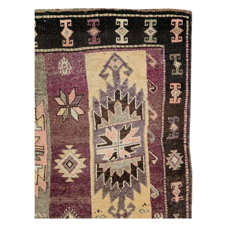 Mid-20th Century Handmade Turkish Tribal Long and Narrow Gallery Carpet In Good Condition For Sale In New York, NY