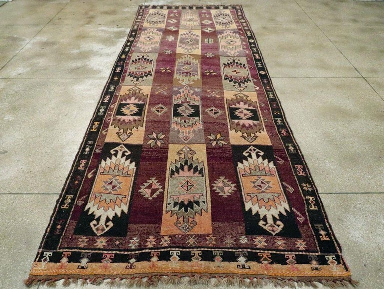 Wool Mid-20th Century Handmade Turkish Tribal Long and Narrow Gallery Carpet For Sale