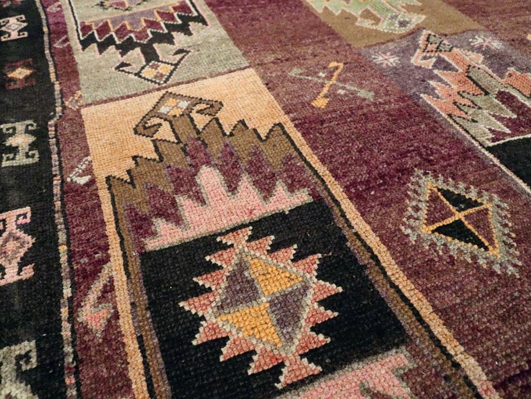 Mid-20th Century Handmade Turkish Tribal Long and Narrow Gallery Carpet For Sale 1