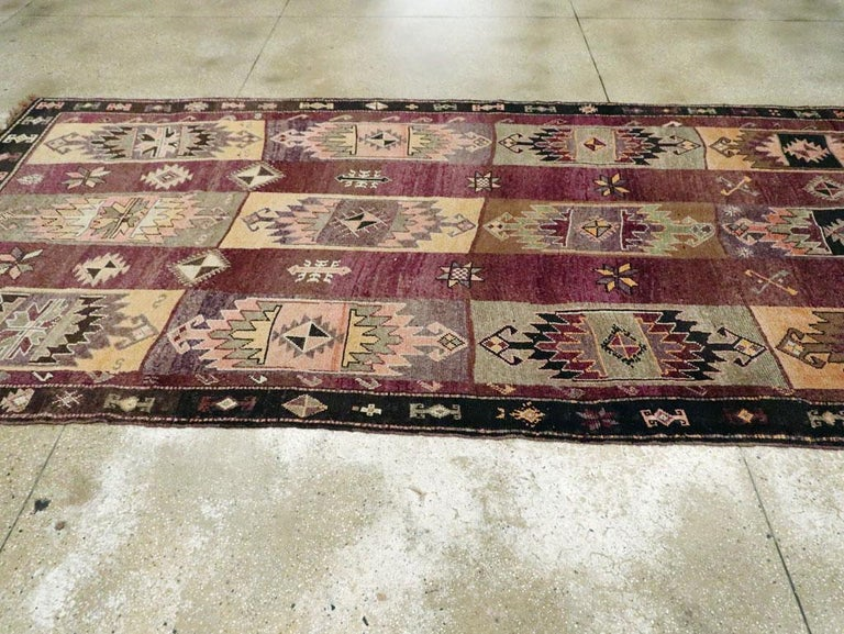 Mid-20th Century Handmade Turkish Tribal Long and Narrow Gallery Carpet For Sale 2