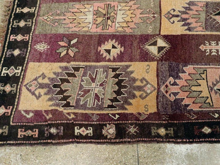 Mid-20th Century Handmade Turkish Tribal Long and Narrow Gallery Carpet For Sale 3