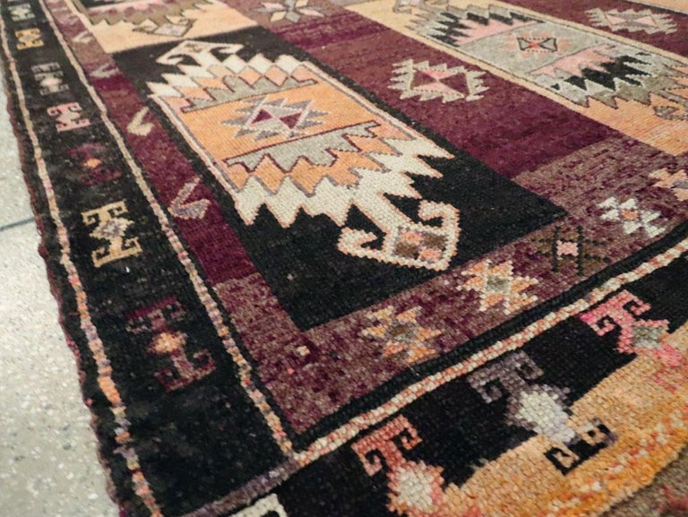 Mid-20th Century Handmade Turkish Tribal Long and Narrow Gallery Carpet For Sale 4