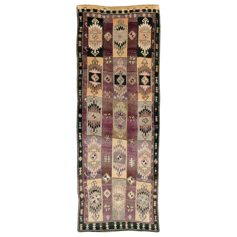 Mid-20th Century Handmade Turkish Tribal Long and Narrow Gallery Carpet For Sale