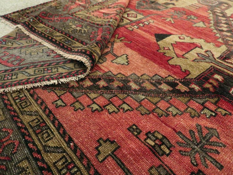 Mid-20th Century Handmade Turkish Tribal Room Size Accent Rug For Sale 5