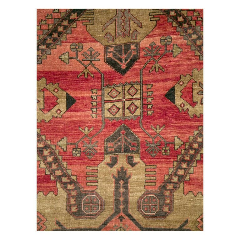 A vintage Turkish Anatolian room size accent rug handmade during the mid-20th century with a geometric tribal design.