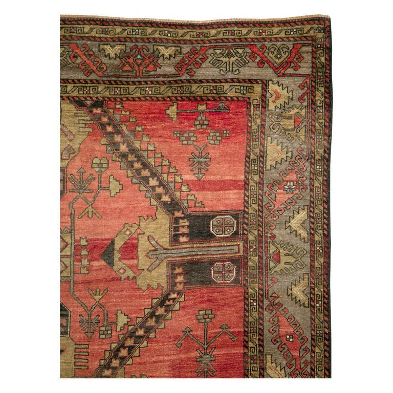 Hand-Knotted Mid-20th Century Handmade Turkish Tribal Room Size Accent Rug For Sale