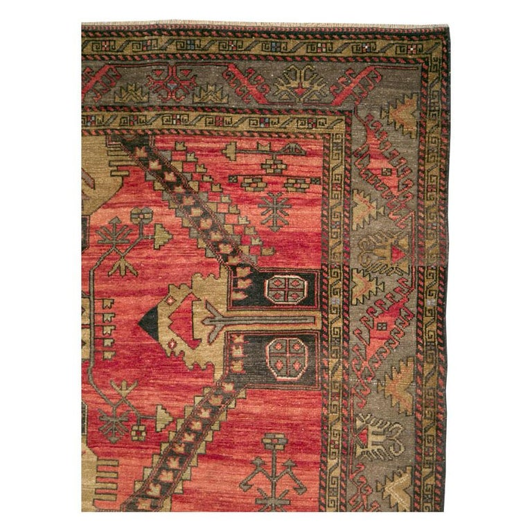 Mid-20th Century Handmade Turkish Tribal Room Size Accent Rug In Good Condition For Sale In New York, NY