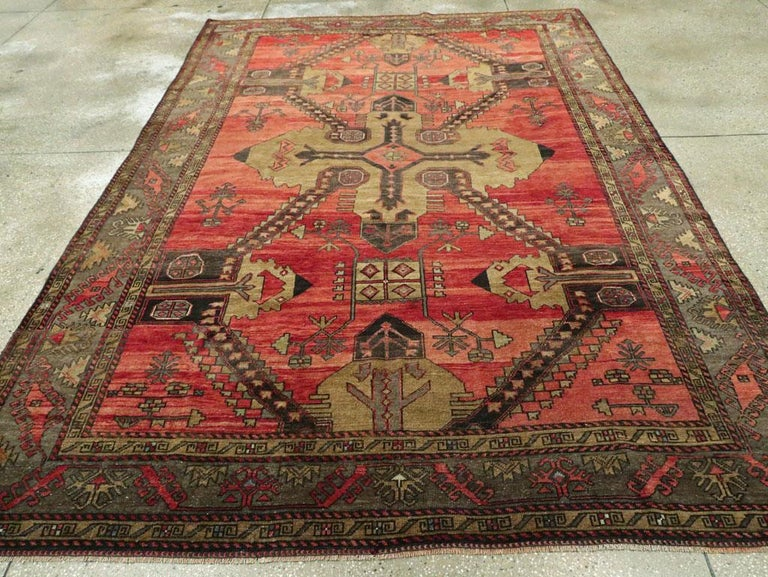 Wool Mid-20th Century Handmade Turkish Tribal Room Size Accent Rug For Sale