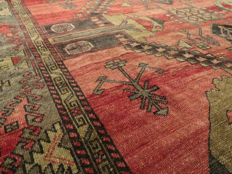 Mid-20th Century Handmade Turkish Tribal Room Size Accent Rug For Sale 1