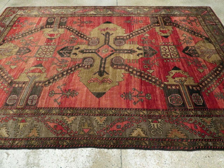 Mid-20th Century Handmade Turkish Tribal Room Size Accent Rug For Sale 2