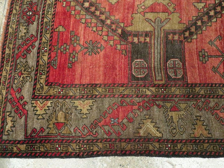 Mid-20th Century Handmade Turkish Tribal Room Size Accent Rug For Sale 3