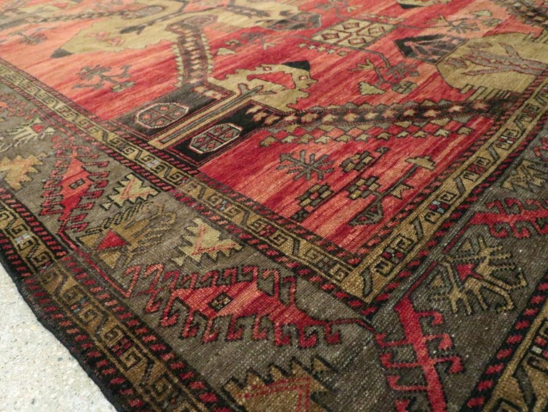 Mid-20th Century Handmade Turkish Tribal Room Size Accent Rug For Sale 4