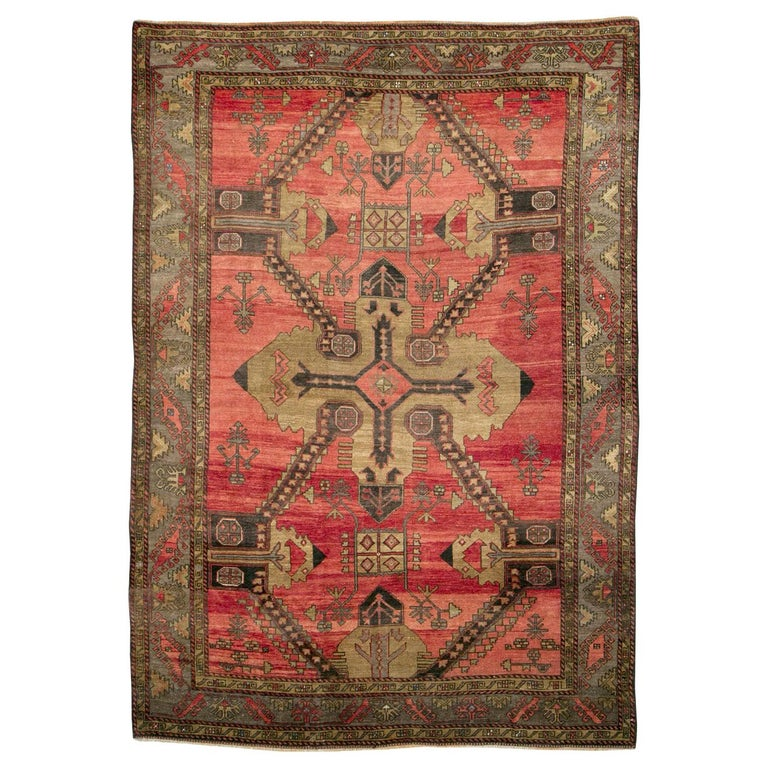 Mid-20th Century Handmade Turkish Tribal Room Size Accent Rug For Sale