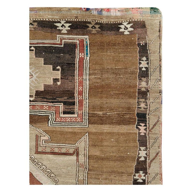 Rustic Mid-20th Century Handmade Turkish Tribal Room Size Carpet For Sale