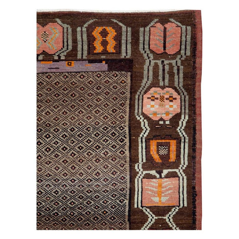 Hand-Knotted Mid-20th Century Handmade Turkish Tribal Room Size Carpet For Sale