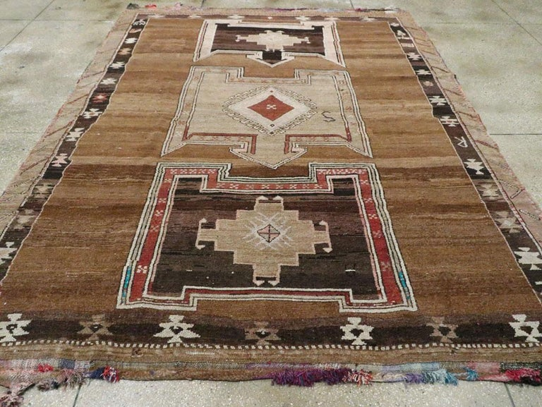 Mid-20th Century Handmade Turkish Tribal Room Size Carpet In Good Condition For Sale In New York, NY
