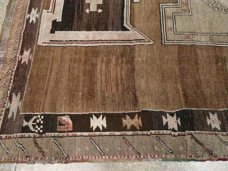Mid-20th Century Handmade Turkish Tribal Room Size Carpet For Sale 2