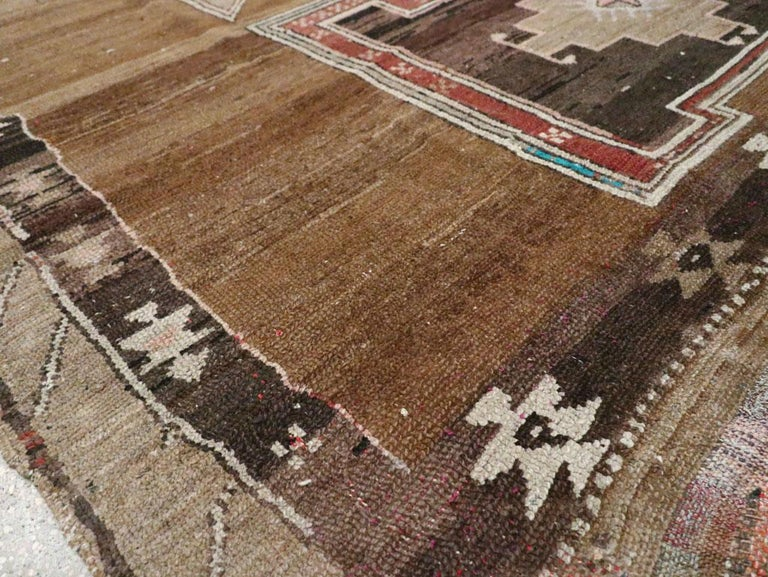 Mid-20th Century Handmade Turkish Tribal Room Size Carpet For Sale 3